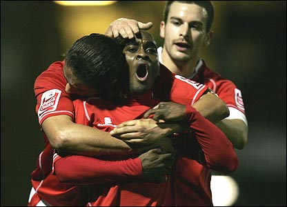 Jamal Campbell-Ryce (centre) celebrates his winner at Southend in the FA Cup fourth round