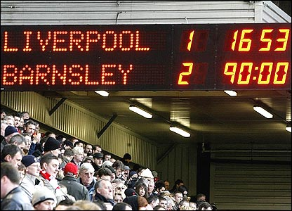 The Anfield scoreboard tells the stunning story of Barnsley's FA Cup win against Liverpool