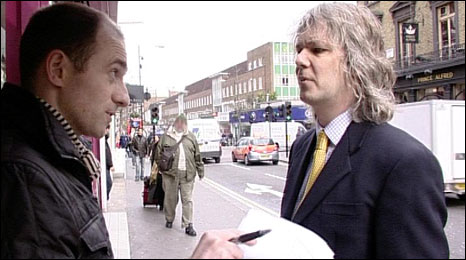 BBC Scotland's Mark Daly confronts John Blanchard of Never Give Up Ltd