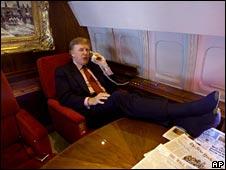 Donald Trump on his private plane