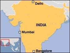 Map of India showing Delhi, Mumbai, and Bangalore