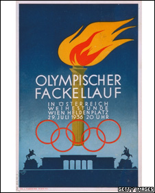 1936 Olympic Games poster to mark the torch passing through Vienna on its way to Berlin - IOC Olympic Museum  /Allsport