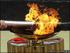 Olympic torch being lit in Athens at the handover ceremony to China before the 2008 games