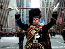 Pipers parade through the streets of New York [Pic: Colin Dickson]