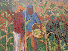 Mural of farmers at IITA (Image: BBC)