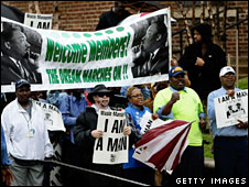 Marchers in Memphis on the 40th anniversary of Martin Luther King's death
