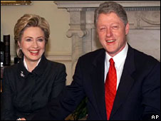 Former President Bill Clinton and Hillary Clinton in the Oval Office of the White House, 1 January, 2000