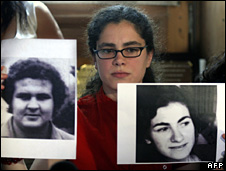Maria Eugenia Sampallo holds up photos of her parents in court (31 March 2008)