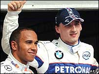 Lewis Hamilton (left) and Robert Kubica