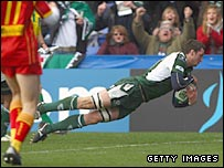 Declan Danaher dives over to score for London Irish
