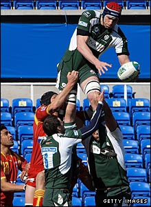 Second row Nick Kennedy soars to claim a clean line-out take in Reading on Saturday