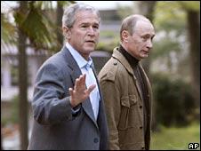 President George Bush and President Vladimir Putin in Sochi (05/04/08)