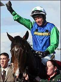 Timmy Murphy celebrates his superb win