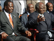 Raila Odinga (L) and Mwai Kibaki (R), file photo from 6 March, 2008