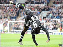Obafemi Martins celebrates his opening goal for Newcastle