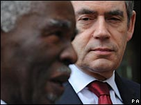 Thabo Mbeki and Gordon Brown at the summit