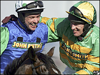 Timmy Murphy is congratulated by Paul Carberry