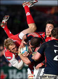Gloucester full-back Olly Morgan gets airborne