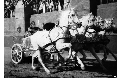 Scene from chariot race in Ben-Hur