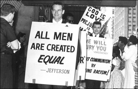Heston pickets a whites-only restaurant in Oklahoma City in 1961