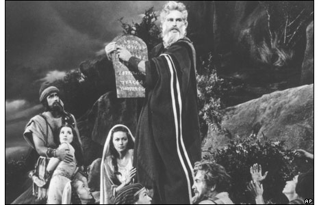 Charlton Heston plays Moses in The Ten Commandments