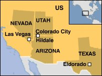 Map of US showing states of Nevada, Utah, Arizona and Texas