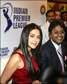 Bollywood actor Preity Zinta (left) and Chairman Indian Premier League Lalit Modi