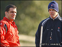 Martin Johnson (L) and Sir Clive Woodward
