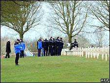Police inspect damage to Muslim war graves at Notre Dame de Lorette cemetery - 6/4/2008