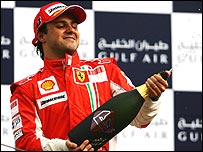 Felipe Massa celebrates after winning the Bahrain Grand Prix for Ferrari