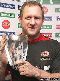 Richard Hill poses with the man of the match trophy