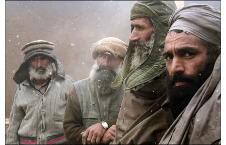 Afghan military contractors outside a base