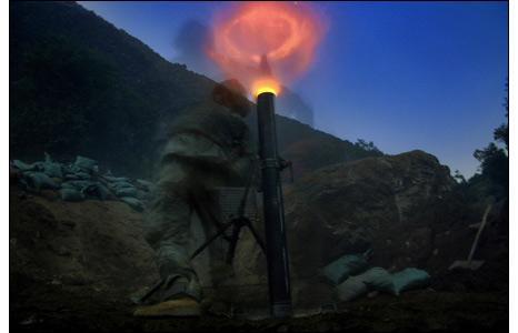Halo from US mortar firing at night