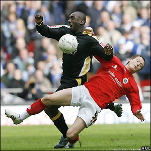 Cardiff's veteran striker Jimmy Floyd Hasselbaink looks for the second goal