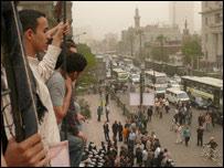 Protesta en el sindicato de abogados egipcios
