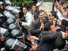Protesters and police in Cairo - 6/4/2008