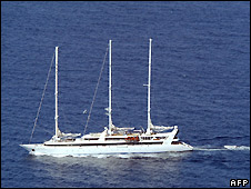 The Ponant seen on 5 April from a French military aircraft off northern Somalia