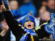 A young Cardiff City fan at Wembley