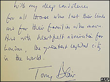 Tony Blair's entry in the 7 July book of condolence
