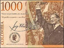 Jorge Eliecer's picture is Colombian 1,000-peso (55 US cents) banknotes