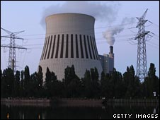 A cooling-tower at coal-fired power plant Heizkraftwerk Reuter West, Berlin