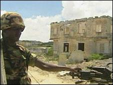 Peacekeeper in ruined street