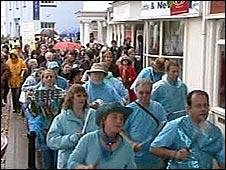 Save Dartington College Campaigners protest in Totnes