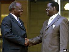 Mwai Kibaki (L) and Raila Odinga after their meeting on 6 April, 2008