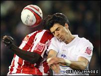 Jose Fonte (right) battles with Mamady Sidibe