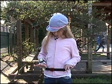 Girl wearing GPS watch and activity monitor