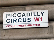 Piccadilly street sign