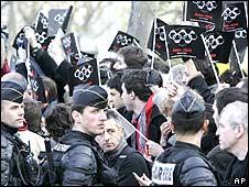Pro-Tibet demonstrators in Paris 7/4/08