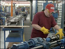 "The assembly line at Dana Corporation""s automotive parts manufacturing plant in Lima, Ohio"