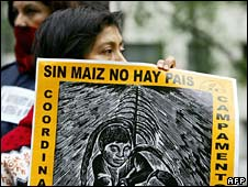 A woman holds a sign during a protest against Nafta in front of the U.S. embassy in Mexico City on 2 Jan 2008